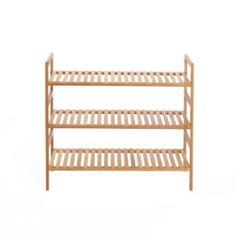 Sherwood Home 3-Tier Essential Natural Bamboo Shoe Rack Light Brown 70x27x60cm