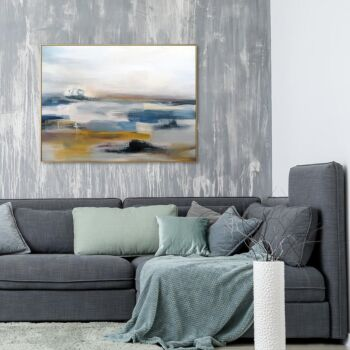 At The Seashore, Abstract Landscape, Hand-Painted Canvas Wall Art
