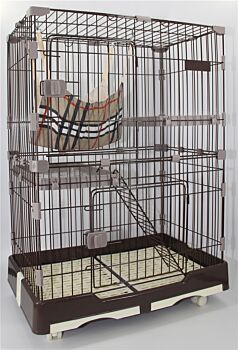 134 cm XL Brown Pet 3 Level Cat Cage House With Litter Tray & Wheel 99x63x134 cm