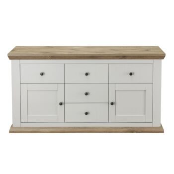 Cosmoliving Buffet Sideboard Cabinet Country Style 2 Door 5 Drawer Large Buffet Table (Grey Pine Top)