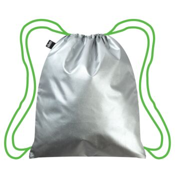 LOQI : Backpack Metallic Neon Collection - Silver – Green Drawstrings