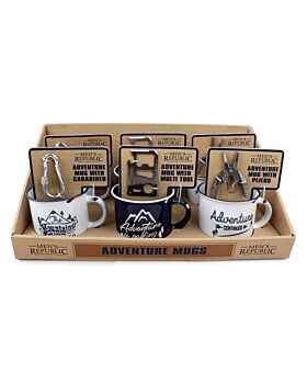 Men's Republic Adventure Mugs with Tool Gift Sets  in Shelf Tray - 6 pcs
