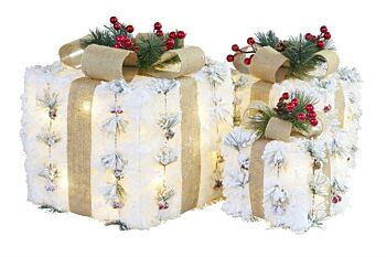 25, 20, 15cm Snowy Light Up Christmas Gift Boxes, Set of 3