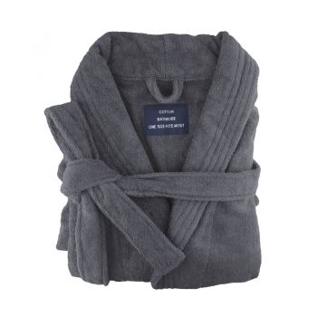 Small/Medium Egyptian Cotton Towelling Bath robe Unisex in Charcoal