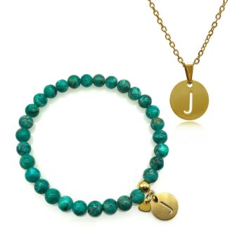 Personalized Gold Plated Stainless Steel Initial Letter Charm Pendant Necklace & African Jasper Turquoise Bracelet Set