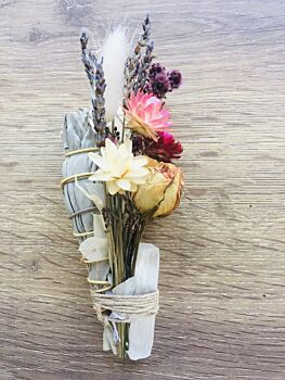 Soul Smudge Sage Stick with Keepsake Dried Flower Posy and Healing Crystal