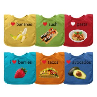 Pull-over Food bib (single)-9/18mo Assorted 6 Pack