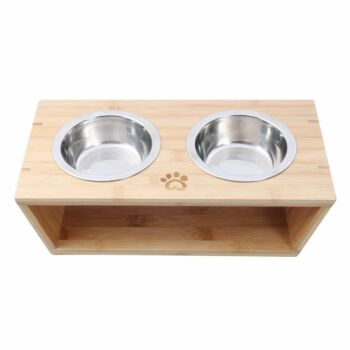 Charlie'S Pet Natural Bamboo Pet Feeder With Stainless Steel Bowls