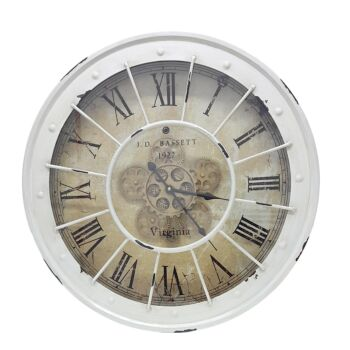Round 60Cm Bassett Industrial Moving Cogs  Wall Clock - White