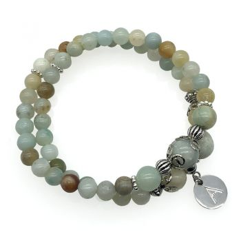 Men's Amazonite Natural Gemstone Personalized Stainless Steel Initial Letter Charm Double Row Stretch Beaded Bracelet