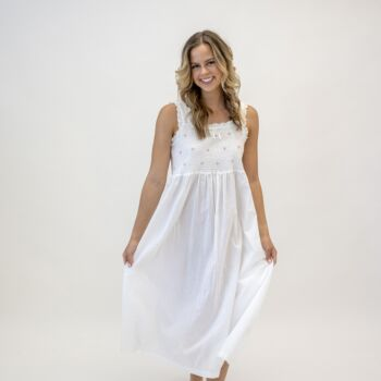 Monica Smocked with Pink Rose Buds White Nightdress