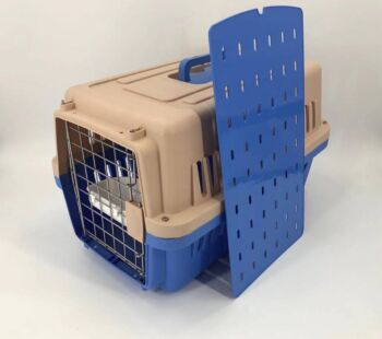 Medium Dog Cat Crate Pet Carrier Airline Cage With Bowl & Tray-Blue