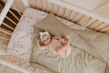 Organic Cotton Play Blanket / Cot Quilt - Dusty Sage