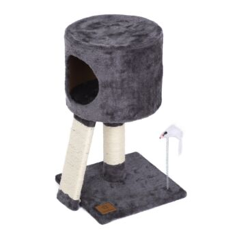 Charlie's Pet Cat Tree Cubby with Scratching Slope - Charcoal - 30x30x52cm