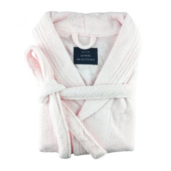 Small/Medium Egyptian Cotton Towelling Bath robe Unisex in Baby Pink