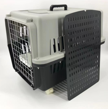 Large Dog Cat Crate Pet Carrier Rabbit Airline Cage With Tray, Bowl & Wheel
