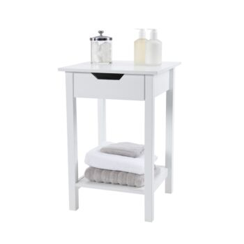 Noosa Square White Side Table Bedside Table With Cut Out Handle
