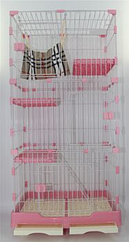 146 cm Pink Pet 4 Level Cat Cage House With Litter Tray & Wheel 72x47x146 cm