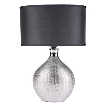 Sherwood Lighting Cosmo Contemporary Bedside Table Lamp - Art Deco Textured - Silver