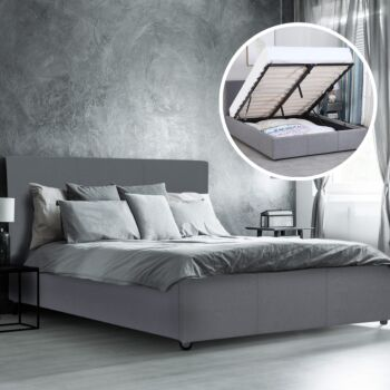 Milano Luxury Gas Lift Bed Frame Base And Headboard With Storage All Sizes