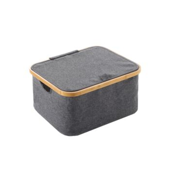 Sherwood Home Linen & Bamboo Square Laundry Bag With Cover 40X33X20Cm