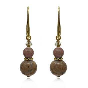 Natural Round Rhodonite Adorned with Swarovski® Crystal Beads Earrings