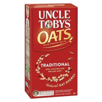 9 X Uncle Toby's Traditional Oats 1Kg