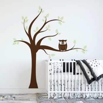 Tree with Owl Wall Decal BOWN AND GREEN