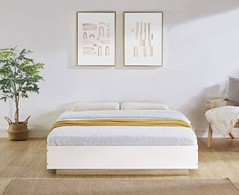 Aiden Industrial Contemporary White Oak Bed Base