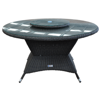 McKINNON - Outdoor Wicker Large Round Dining Table with Lazy Susan