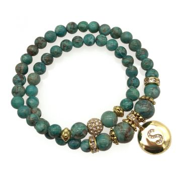African Jasper 'Turquoise' Natural Gemstone & CZ Personalized Initial Letter Charm Double Row Stretch Beaded Bracelet.