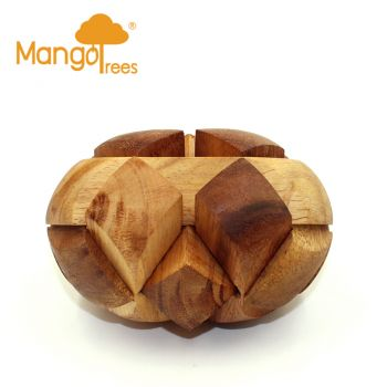 MANGO TREES Football/Rugby Ball 3D Puzzle Large Wooden Interlocking Brainteasers