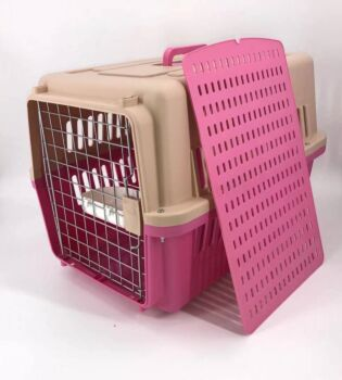 Large Dog Cat Crate Pet Carrier Airline Rabbit Cage With Tray And Bowl