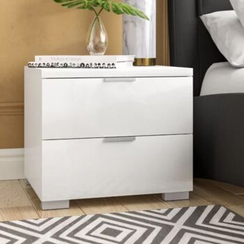 Cosmoliving Bedside Table High Gloss 2 Drawer (White Gloss & Metal Silver Handle)