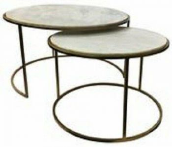 Linton Coffee Table with Marble Top Metal Frame