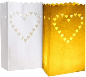 10 Pack - White Heart of Hearts Tea Light Candle Bag Lantern Luminary Wedding or Party