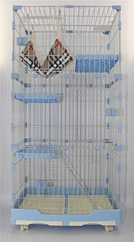 195 cm XL Blue Pet 4 Level Cat Kitten Cage House With Litter Tray 99x63x195 CM