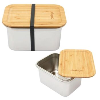 Clevinger Stainless Steel Bamboo Extra Large Lunch Box 2000ml