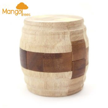MANGO TREES High Quality Wood 3D Brain Teaser Puzzles - Beer Barrel Puzzle Fun!
