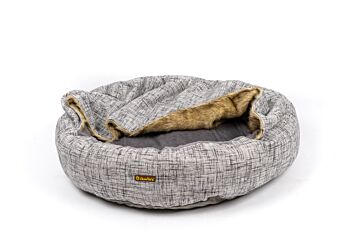 Charlie's Pet Round Bed with Faux Fur Cover - Light Grey