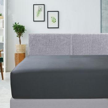 Single Bed 400TC Bamboo Cotton Fitted Sheet in Charcoal