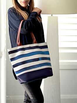 Blue Stripes Tote Bag Clearance 30%OFF