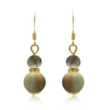 6-10mm Natural Round Amazonite Gold Plated Drop Earrings