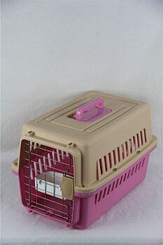 Small Dog Cat Rabbit Crate Pet Carrier Airline Cage With Bowl and Tray-Pink