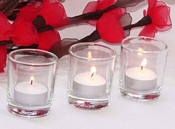 24 Pack - Clear See Through Glass Tea Light Votive Candle Holder 6.5cm high - Table Room Decoration