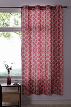 Sherwood Home Apples Red/Taupe Eyelet Curtain 140x223cm