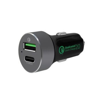 """mbeat® """"QuickBoost C"""" Dual Port Qualcomm Certified  Quick charge 2.0 and USB Type C Car Charger"""