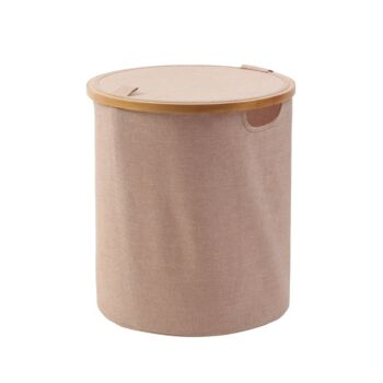 Sherwood Home Short Round Linen and Bamboo Laundry Hamper with Cover Rose Gold 38x38x43cm