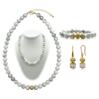 10mm Natural Howlite Persian Love Gold Plated Rhinestone Necklace, Bracelet & Earring Set