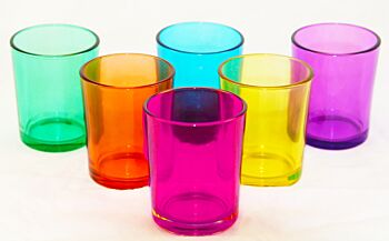 24 Pack - Rainbow Mix Colour Glass Tealight Candle Holders Wedding Party School Event Decoration